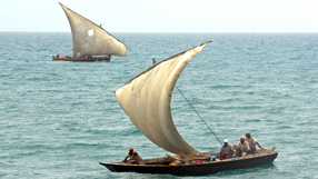 Dhows sailing off the coast of Zanzibar, Tanzania © BBC - Jeff Overs