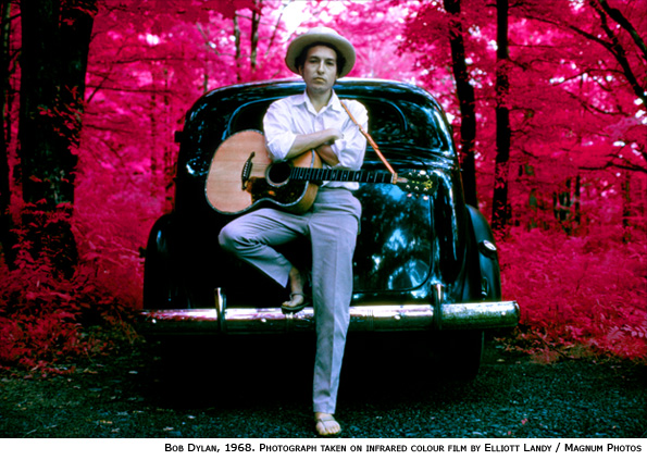 An infrared photograph of Bob Dylan by Elliott Landy in 1968