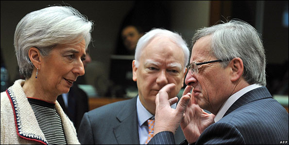 French Finance Minister Christine Lagarde (left) and Luxembourg PM Jean-Claude Juncker (right) at EU Ecofin meeting, 16 Feb 10