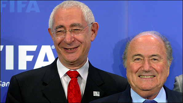 England 2018 bid chairman Lord Triesman with Fifa president Sepp Blatter in Zurich