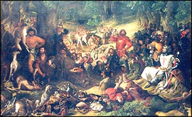 'Robin Hood entertaining King Richard the Lionheart in Sherwood Forest'; painting by Daniel Maclise in Nottingham Castle Museum Art Gallery (permission of Nottingham City Museum).