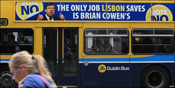A No to Lisbon campaign poster on a Dublin bus