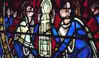 Stained glass window dipicting Henry II and Eleanor of Aquitaine