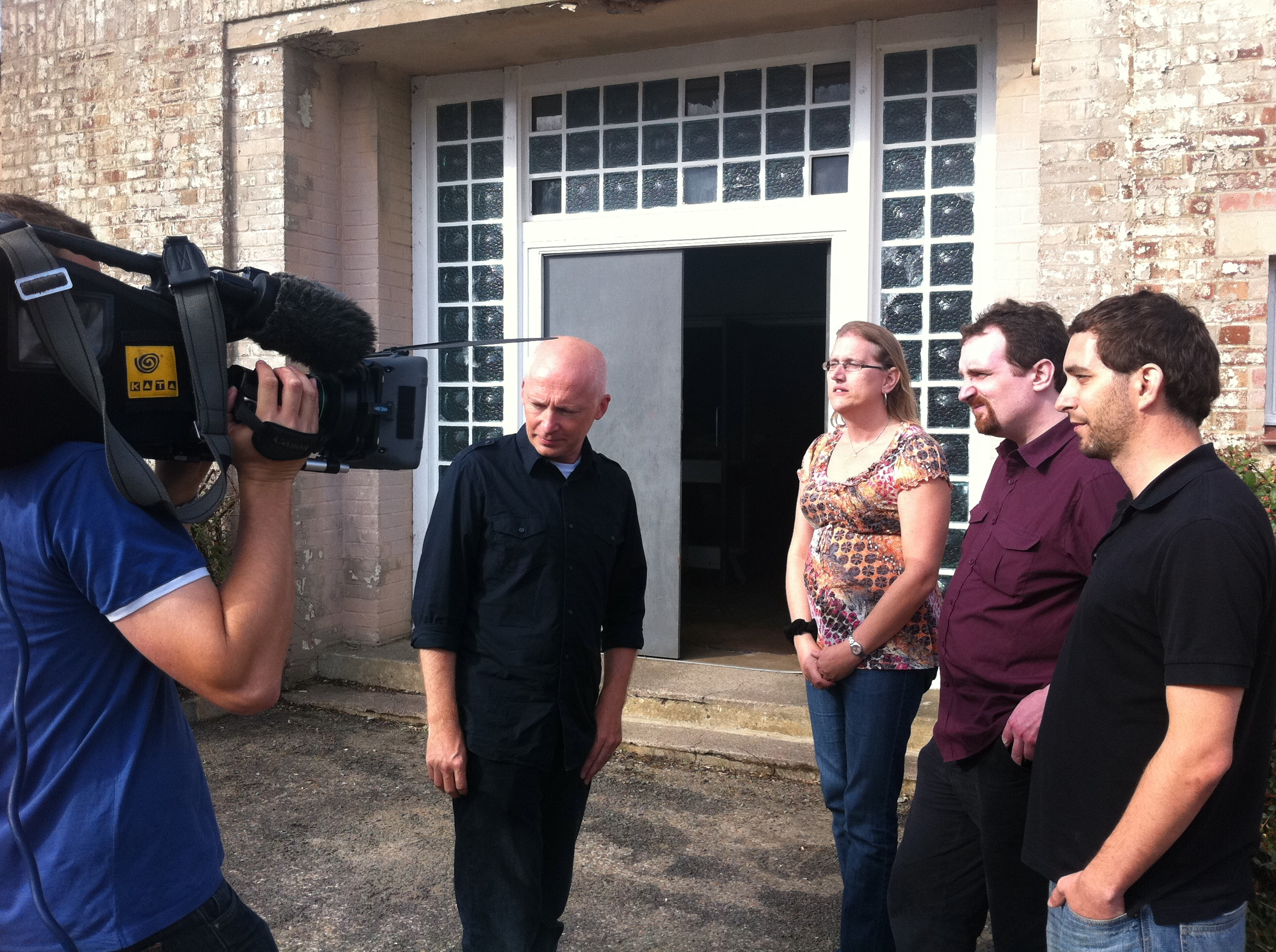 Marcus du Sautoy with the three finalists filming introductions