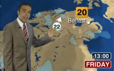 Still of a BBC weather presenter on TV