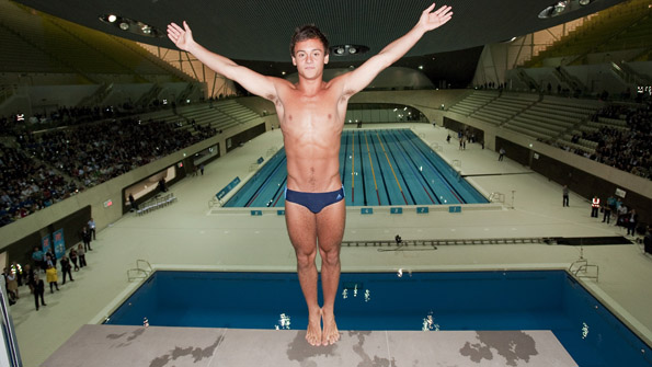 Team GB diver Tom Daley marks One Year to go in the Aquatics Centre in July 2011