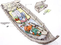 Image of the Scar burial boat and contents
