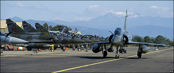 French Mirage 2000 jets at Corsica base prepared for Libya mission, 21 Mar 11