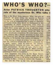 An article from the Radio Times about actor Patrick Troughton.
