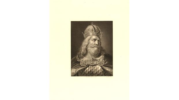 19th century print of Emperor Charlemagne, grandfather of Lothair. Copyright Trustees of the British Museum