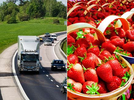 First half: Lorry on a motorway. Second half: Freshly picked strawberries in season