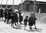 Children on their way to the Auschwitz gas chamber