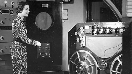 Miss Elizabeth Cowell listening to a recording of her voice at Maida Vale Studios in 1936