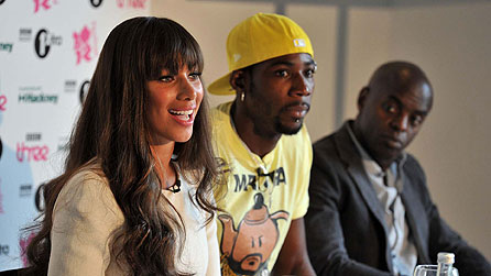L-R: Leona Lewis, Phillips Idowu and Trevor Nelson MBE at the launch of BBC Radio 1's Hackney Weekend 2012