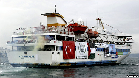 Turkish ship Mavi Marmara, carrying pro-Palestinian activists to take part of a humanitarian convoy, leaves from Sarayburnu port in Istanbul, 22 May 2010