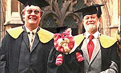 Bagpuss with creators Oliver Postgate and Peter Firmin, picture courtesy of Oliver Postgate and Peter Firmin
