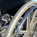 Close-up image of a wheelchair wheel