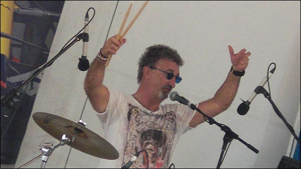 Eddie Jordan entertains on the drums