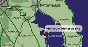Map showing the location of the Nendrum Monastic Site