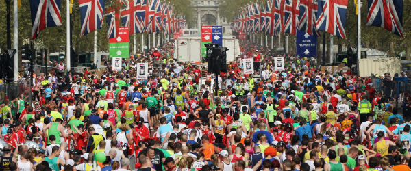 The finish of the London marathon