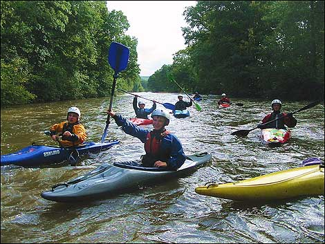 Canoeing on the river at Umberleigh