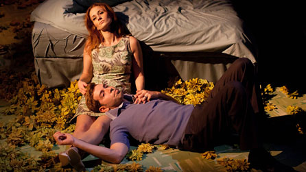 Leanne Rowe (Margaret) and Edward Bennett (William) in Frantic Assembly's Lovesong. Photo: Johan Persson