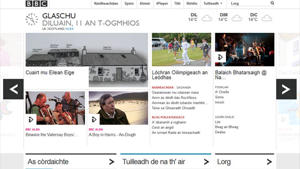 Homepage in Gaelic, showing content from BBC Alba