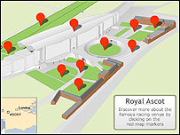 See an interactive map of the Royal Ascot Racecourse