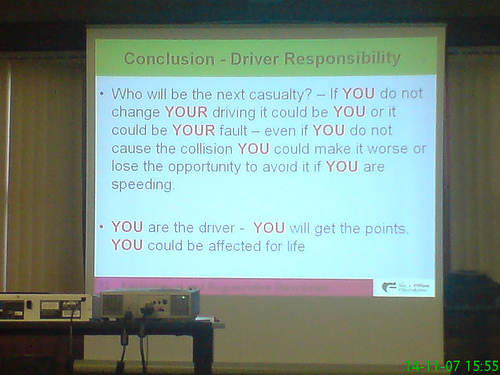 Driver road safety awareness course