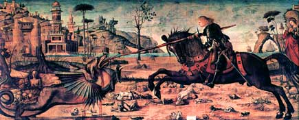 Mounted on his horse, the armoured Saint George charges down the dragon, piercing its open mouth with his lance while the princess looks on