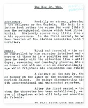 A memo outlining the character for the second Doctor Who.
