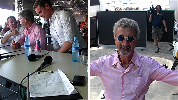 David Coulthard, Eddie Jordan and Martin Brundle prepare - EJ raises a laugh!