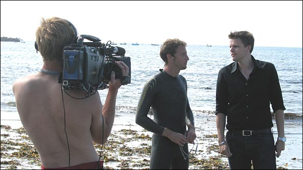 Jake and Jenson on the Guernsey shore