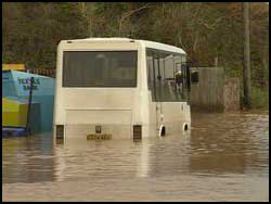 Bus caught in floods
