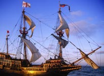 Replica of Drakes' ship the Golden Hind (Getty Images)