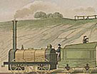 Colour illustration of a steam train on the Liverpool - Manchester railway, 1831