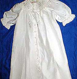 Carrickmacross lace christening dress produced by Thelma Goldring