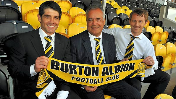 Paul Peschisolido (left) is unveiled as Burton manager, along with assistant Gary Rowett (right)
