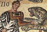 Image showing a detail of gladiator and leopard from a Roman mosaic
