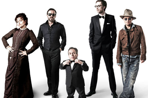 Helena Bonham Carter, Ricky Gervais, Warwick Davis, Stephen Merchant and Johnny Depp