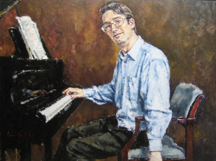 Photo of David Griffiths' painting of Llŷr Williams. Image courtesy of the artist