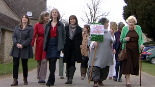 Ladies marching in the Cotswolds