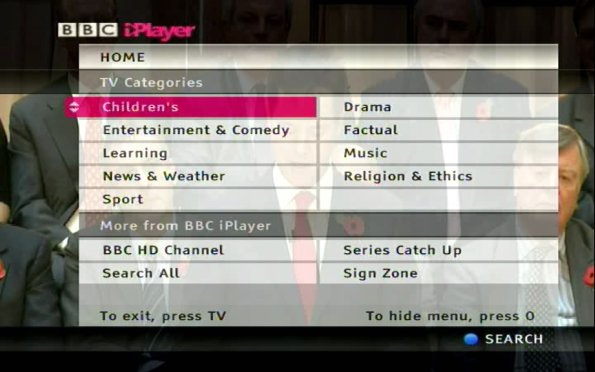 BBC iPlayer as it looked previously on Virgin Media
