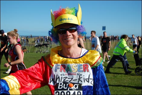 Runner in fancy dress at the end of the 2008 Great North Run