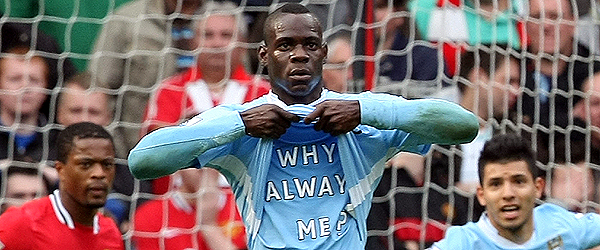 Manchester City's Mario Balotelli celebrates after scoring against Manchester United