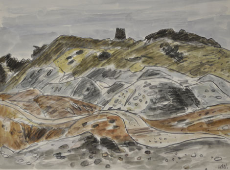 Mynydd Parys (Parys Mountain) watercolour by Sir Kyffin Williams, part of the new exhibition at Oriel Ynys Môn