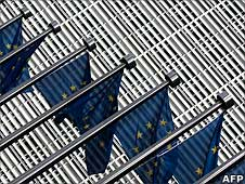 European Flags flutter at the entrance of the European Commission's Berlaymont building at the EU headquarters in Brussels