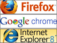 Firefox, Google and IE logos