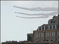 The Red Arrows over Castle Cornet