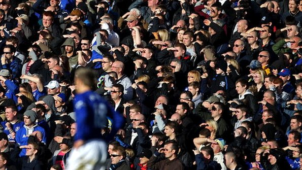 Everton fans in the Goodison Park crowd
